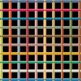 Digitaal geproduceerde weerspiegelende kleuren cilindrische gevormde, uitgedreven bars die tot net zoals modern patroon leiden Royalty-vrije Stock Foto