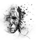 Digitaal geschilderd gezicht in deeltje en rokend stof met donderpictogram stock illustratie