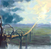 Digitaal geschilderde weg aan hemel stock illustratie