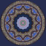 Digitaal kunstontwerp, oosters patroon, gouden en blauw Stock Afbeelding