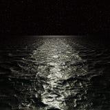 Digitaal Kunstwerk Surreal nachtzeegezicht stock foto