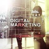 Digitaal marketing concept op dubbele blootstellingsachtergrond vector illustratie