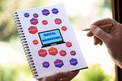 Digitaal marketing concept op een blocnote Royalty-vrije Stock Afbeeldingen