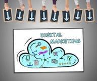 Digitaal marketing concept op een whiteboard Royalty-vrije Stock Afbeeldingen