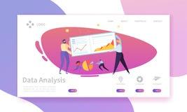 Digitaal Marketing de Grafieklandingspagina van het Analyserapport Bedrijfsstrategie die voor Vooruitgang door Karakter analysere royalty-vrije illustratie