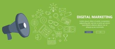 Digitaal marketing en reclame concept Vlakke illustratie royalty-vrije illustratie