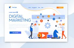 Digitaal Marketing het Landingspaginamalplaatje van Ui van de Agentschapwebsite stock foto