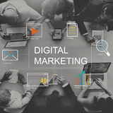 Digitaal Marketing Media Technologie Grafisch Concept stock afbeeldingen