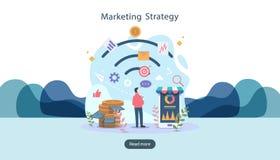 digitaal marketing strategieconcept met uiterst klein mensenkarakter online elektronische handelzaken in moderne vlakke ontwerpsj royalty-vrije illustratie