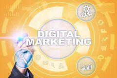 Digitaal marketing technologieconcept Internet Online Zoekmachineoptimalisering SEO SMM reclame stock illustratie