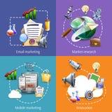 Digitaal marketing 4 vlak pictogrammenvierkant royalty-vrije illustratie