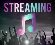 Digitaal Muziek het Stromen Vermaak Online Concept Van verschillende media royalty-vrije stock foto's