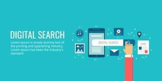 Digitaal onderzoeksconcept, zoekmachineoptimalisering voor digitale apparaten Seo digitale marketing vectorbanner Stock Afbeeldingen