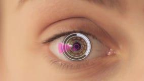 Digitaal oog cyborg meisje, de toekomst van oftalmologie stock illustratie