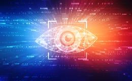 Digitaal oog, Veiligheidsconcept, cyber veiligheidsconcept stock foto