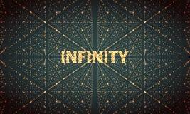 Digitaal perspectiefnet met gloeiende sterren Futuristische oneindigheidsillusie van diepte Abstracte vectorachtergrond vector illustratie
