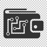 Digitaal portefeuillepictogram in vlakke stijl Crypto zak vectorillustratio vector illustratie