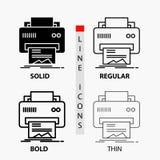 Digitaal, printer, druk, hardware, document Pictogram in Dunne, Regelmatige, Gewaagde Lijn en Glyph-Stijl Vector illustratie stock illustratie