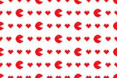 Digitaal rood harten naadloos patroon Royalty-vrije Stock Afbeeldingen