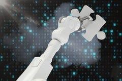 Digitaal samengesteld beeld van 3d de figuurzaagstuk van de robotholding Royalty-vrije Stock Foto's