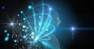 Digitaal samengesteld beeld van 3d mens dat van binaire code wordt gemaakt Royalty-vrije Stock Afbeeldingen