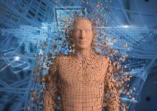 Digitaal samengesteld beeld van 3d mens over abstracte achtergrond Royalty-vrije Stock Afbeeldingen