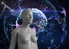 Digitaal samengesteld beeld van 3d vrouw Stock Afbeeldingen