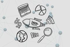 Digitaal samengesteld beeld van digitale marketing dat op raket door diverse pictogrammen wordt geschreven vector illustratie