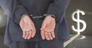 Digitaal samengesteld beeld van een zakenman met handen in entrepot Royalty-vrije Stock Foto