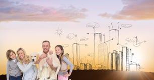 Digitaal samengesteld beeld van familie met hond tegen getrokken stad Royalty-vrije Stock Foto
