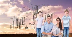 Digitaal samengesteld beeld van gelukkige familie met gebouwen in hemel Stock Afbeeldingen