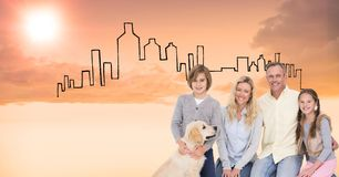 Digitaal samengesteld beeld van gelukkige familie met hond tegen getrokken gebouwen Royalty-vrije Stock Afbeeldingen