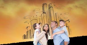 Digitaal samengesteld beeld van gelukkige familie tegen gebouwen Royalty-vrije Stock Fotografie