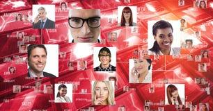 Digitaal samengesteld beeld van glimlachende multi-etnische mensen royalty-vrije stock foto