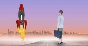 Digitaal samengesteld beeld van onderneemster het letten op raketlancering tegen stad vector illustratie