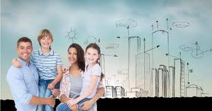 Digitaal samengesteld beeld van ouders die kinderen met getrokken gebouwen op achtergrond vervoeren Stock Afbeelding