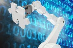 Digitaal samengesteld beeld van robot met 3d figuurzaagstuk Stock Foto's