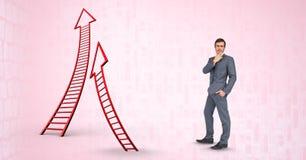 Digitaal samengesteld beeld van zakenman door pijl gevormde ladders stock afbeeldingen