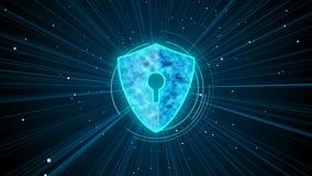 Digitaal schild die gebruikersgegevens beschermen tegen malware en spyware schadelijke dossiers vector illustratie
