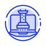 Digitaal, Strategie, Digitale Strategie, Marketing het Blauwe Pictogram van de Gestippelde Lijnlijn stock illustratie