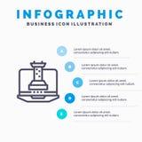 Digitaal, Strategie, Digitale Strategie, Marketing Lijnpictogram met infographicsachtergrond van de 5 stappenpresentatie vector illustratie