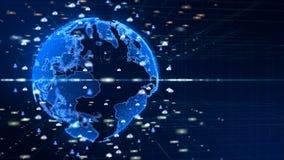 Digitaal Verbonden Informatienet Digitaal die Cyberspace concept, Aardeelement door NASA wordt geleverd stock illustratie