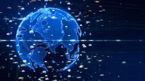Digitaal Verbonden Informatienet Digitaal die Cyberspace concept, Aardeelement door NASA wordt geleverd royalty-vrije illustratie