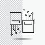 digitaal, vezel, elektronisch, steeg, het Pictogram van de kabellijn op Transparante Achtergrond Zwarte pictogram vectorillustrat stock illustratie