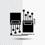 digitaal, vezel, elektronisch, steeg, het Pictogram van kabelglyph op Transparante Achtergrond Zwart pictogram stock illustratie