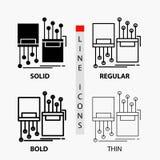digitaal, vezel, elektronisch, steeg, kabelpictogram in Dunne, Regelmatige, Gewaagde Lijn en Glyph-Stijl Vector illustratie royalty-vrije illustratie