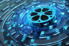 Digitaal video en concept van verschillende media Stock Foto's
