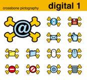 Digitaces 1 pictografía del crossbone Stock de ilustración
