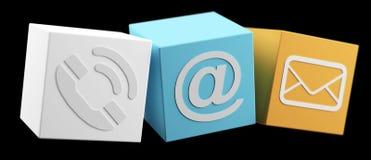 Digitaces 3D imprimieron la representación plástica del icono 3D del contacto del cubo Stock de ilustración
