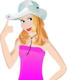 Digitación del Cowgirl su sombrero ilustración del vector